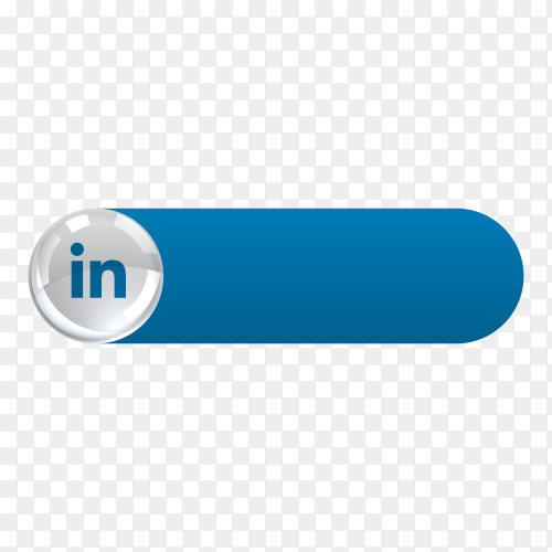 Linkedin icon in banner lower third on transparent background PNG