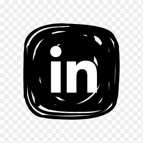 Linkedin icon in black color on transparent background PNG