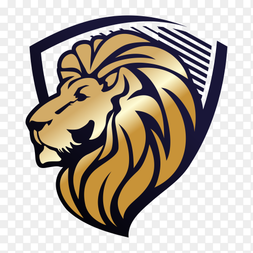 Lion and shield logo on transparent background PNG