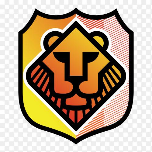 Lion logo illustration on transparent background PNG
