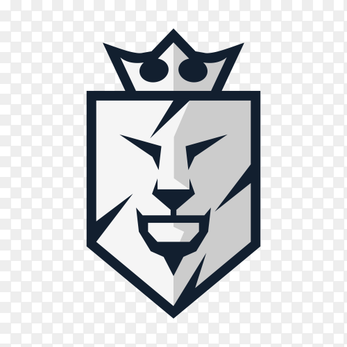 Lion shield luxury logo icon on transparent background PNG