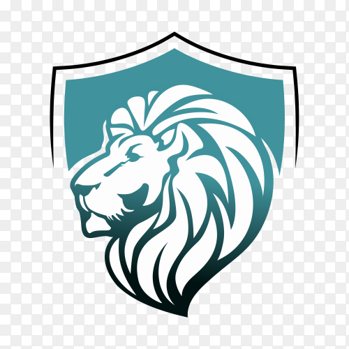 Lion with shield logo template on transparent background PNG