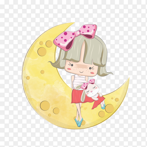 Little girl and her bunny on the moon on transparent background PNG