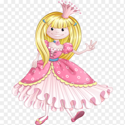 Little princess in a pink dress on transparent background PNG
