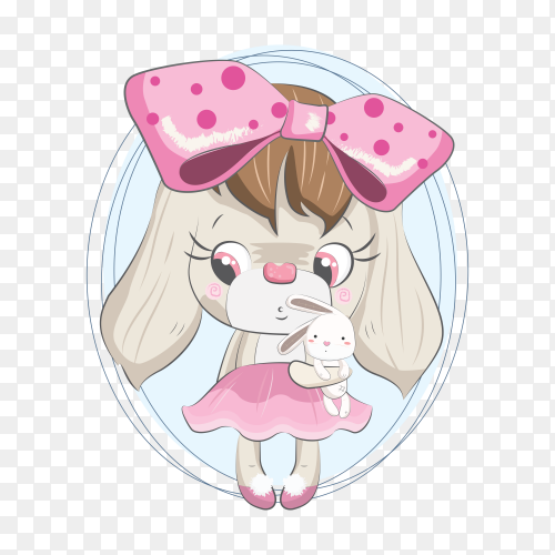 Lovely doggy with its doll on transparent background PNG