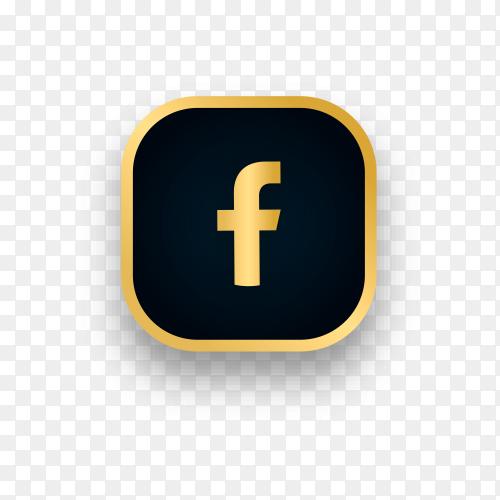 Luxury Facebook logo design on transparent background PNG