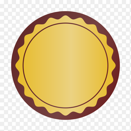 Luxury golden empty badge and label design isolated on transparent PNG