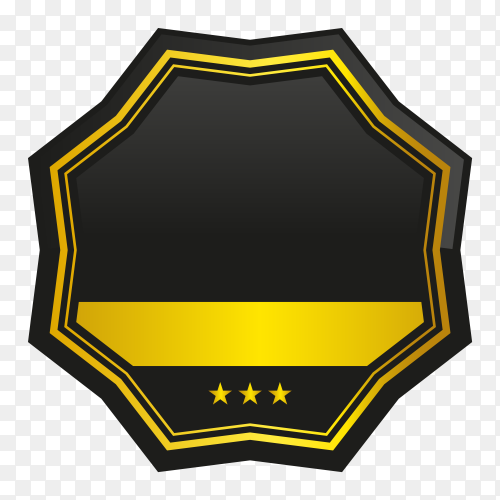 Luxury golden empty badge and label design on transparent PNG