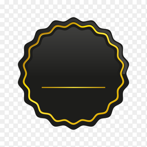 Luxury golden empty badge and label design on transparent background PNG