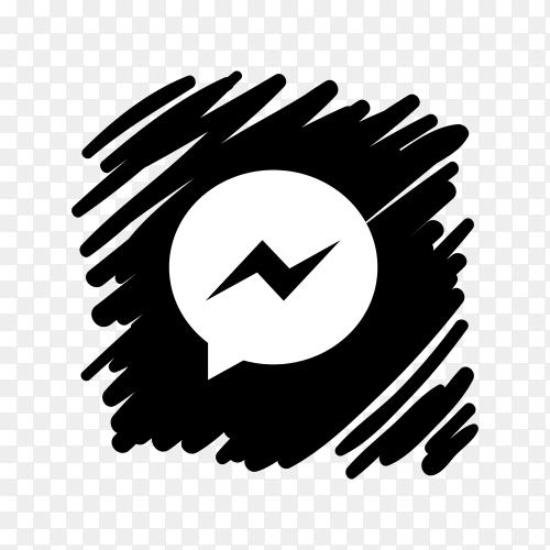 Messenger icon design with dark black brush on transparent background PNG