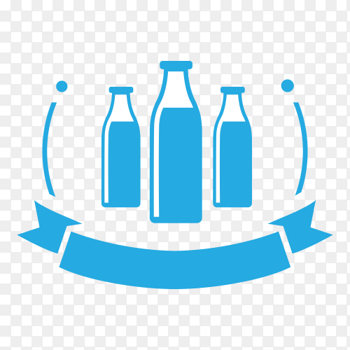 Milk label isolated on transparent background PNG