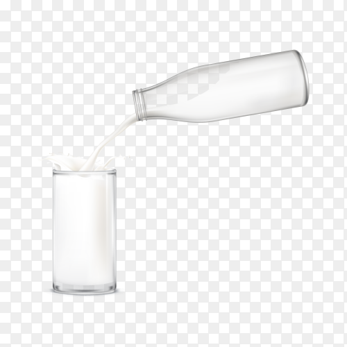 Milk pouring into a glass from glass jug on transparent background PNG