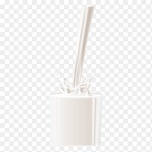 Milk pouring into cup glass on transparent background PNG