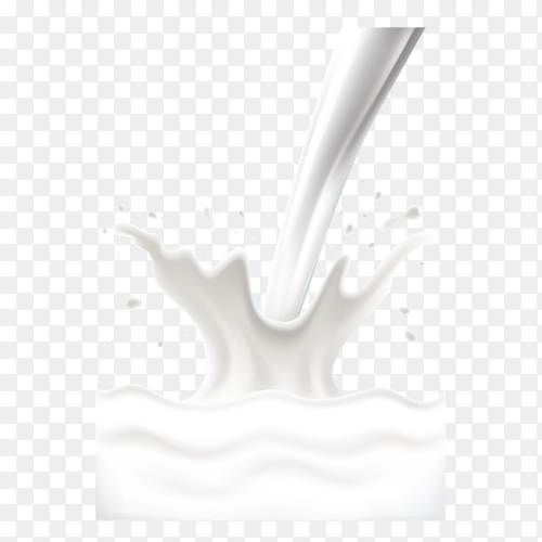 Milk splash and pouring on transparent background PNG