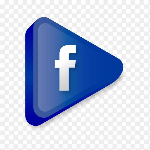 Modern Facebook icon in flat design on transparent background PNG