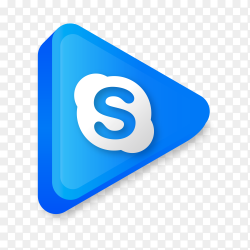 Modern Skype icon in flat design on transparent background PNG