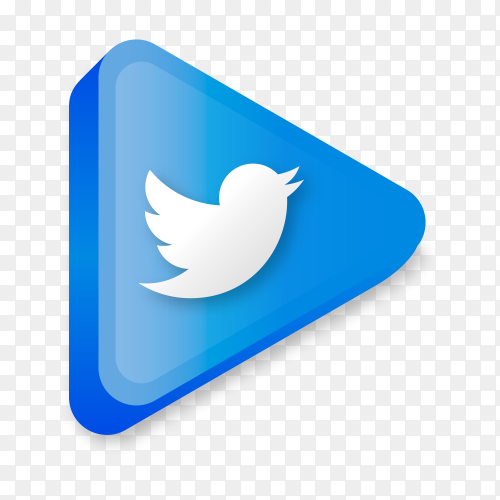 Modern Twitter icon in flat design on transparent background PNG