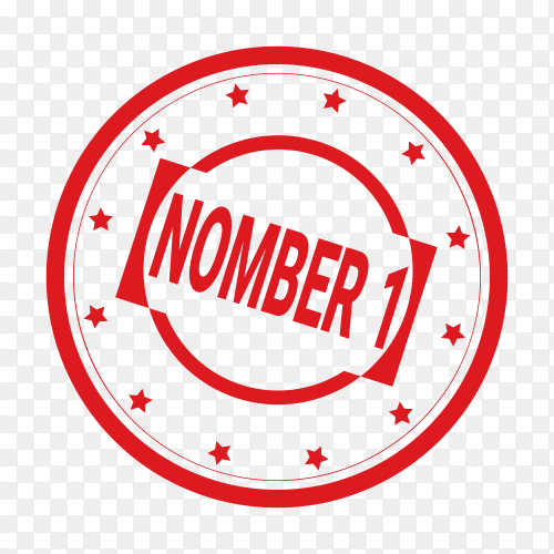 Nomber 1 design rubber seal on transparent background PNG