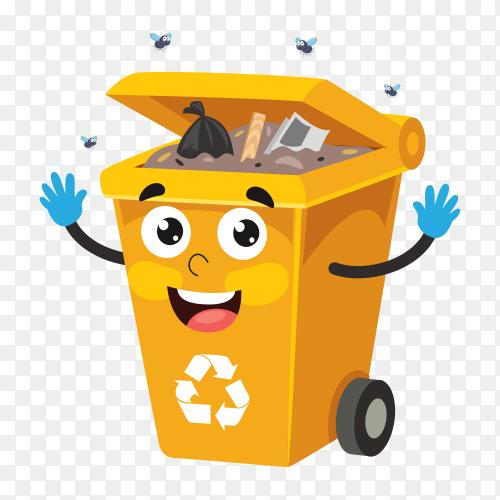 Orange trash bin isolated on transparent background PNG