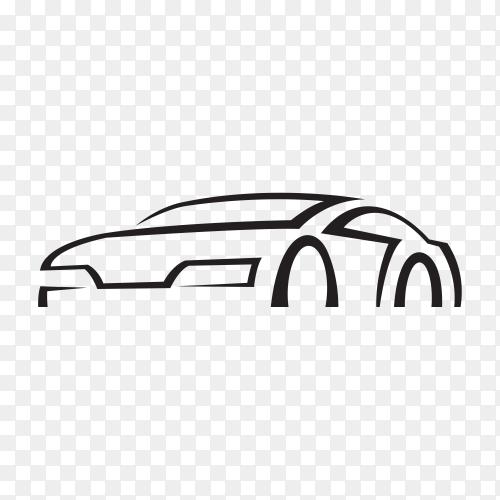 Original concept super car, sports car and sedan motor vehicle silhouette on transparent PNG