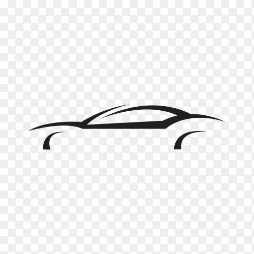 Original concept supercar, sports car and sedan motor vehicle silhouette on transparent background PNG