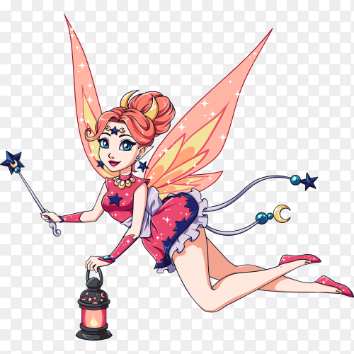 Pretty cartoon fairy holding lantern and magic wand on transparent background PNG