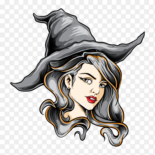 Pretty witch illustration on transparent background PNG