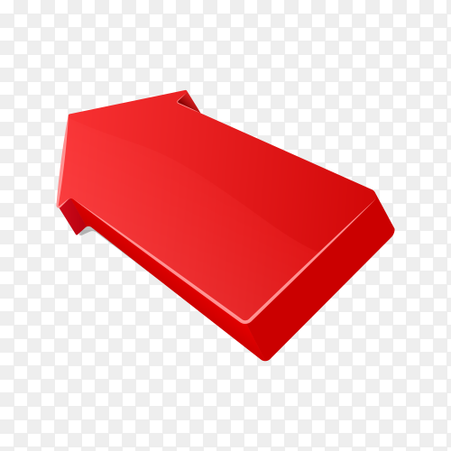 Realistic 3d arrow in red color on transparent background PNG