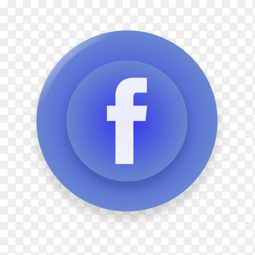 Realistic button with Facebook logo on transparent background PNG