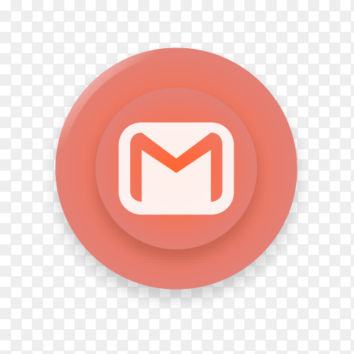 Realistic button with Gmail logo on transparent background PNG