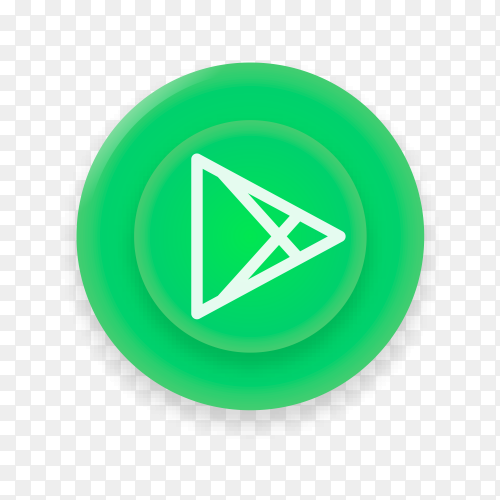 Realistic button with Google play logo on transparent background PNG