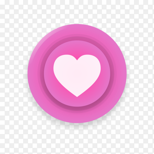 Realistic button with Instagram like logo on transparent background PNG
