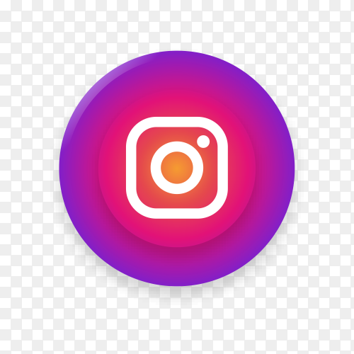 Realistic button with Instagram logo on transparent background PNG