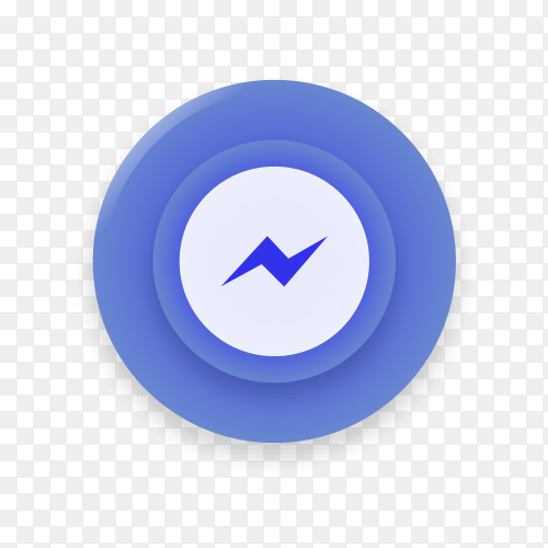 Realistic button with Messenger logo on transparent background PNG