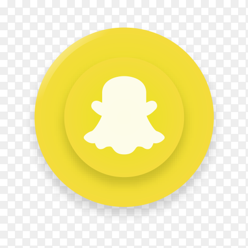 Realistic button with Snapchat logo on transparent background PNG