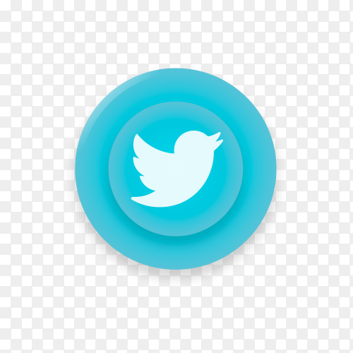 Realistic button with Twitter logo on transparent background PNG