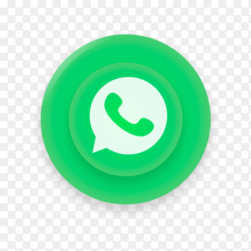 Realistic button with Whatsapp logo on transparent background PNG