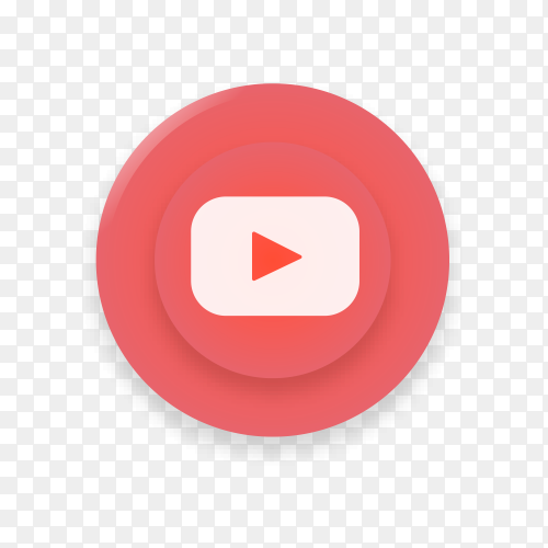 Realistic button with YouTube logo on transparent background PNG
