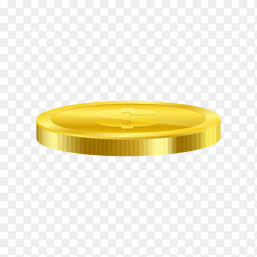Realistic gold coin  premium vector PNG