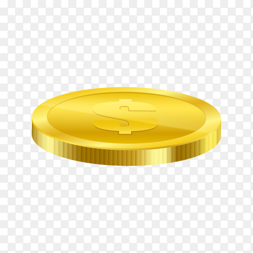 Realistic gold coin icon on transparent background PNG