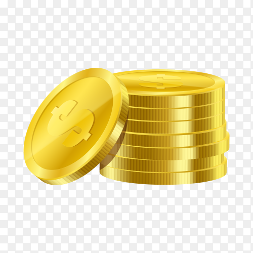 Realistic gold coins isolated on transparent background PNG