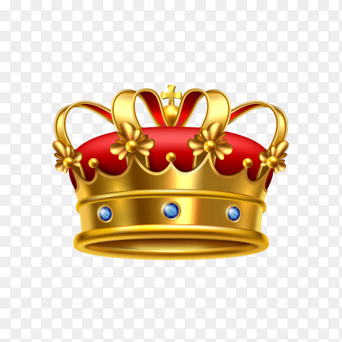 Realistic golden crown on transparent background PNG