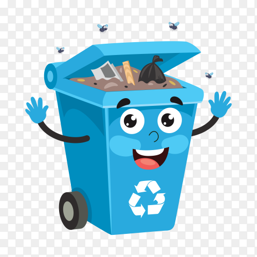 Recycle bin with trash on transparent background PNG