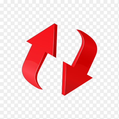 Red 3d glossy arrow on transparent background PNG