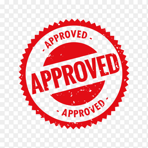 Red Approved stamp in rubber style on transparent background PNG