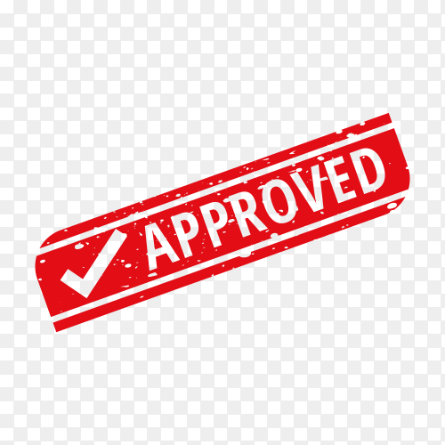 Red Approved stamp on transparent background PNG