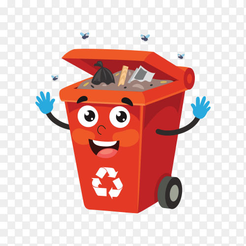 Red Recycle bin with trash on transparent background PNG