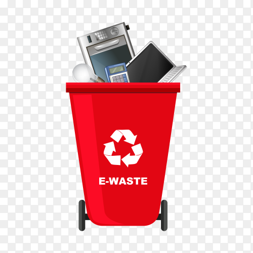 Red Trash bin with recycle symbol on transparent background PNG