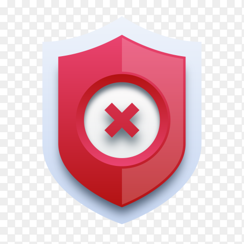 Red cross mark on shield on transparent background PNG