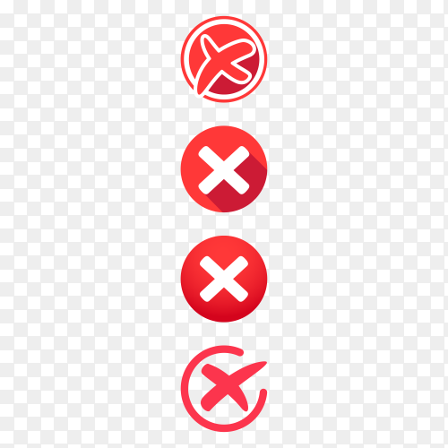 Red cross marks icons on transparent background PNG